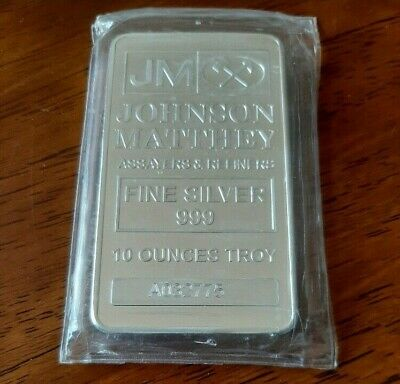 10 Oz. JOHNSON MATTHEY .999 FINE SILVER BAR SERIAL NUMBER A032775 FACTORY SEALED