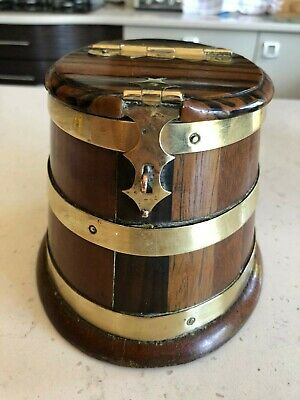 Antique Wooden Tea Caddy, oak with brass bands
