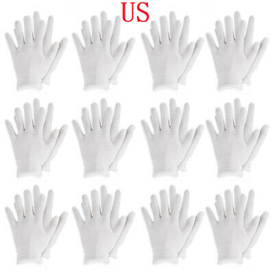 12 Pairs Thin Reusable Elastic Cotton Work Gloves Eczema Coin Handling Cosmetic