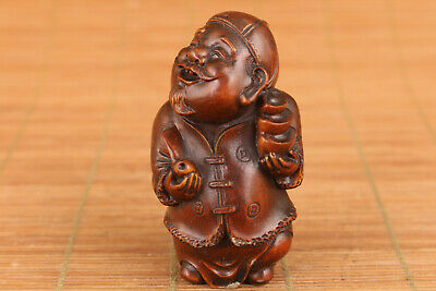 Rare Chinese old boxwood hand carved god of wealthy buddha statue netsuke