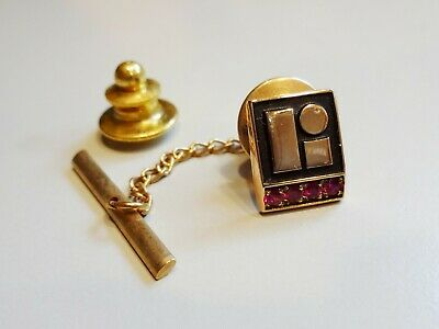Vtg 10K GOLD LITTON INDUSTRIES SERVICE TIE TACK or LAPEL PIN with 4 Gemstones
