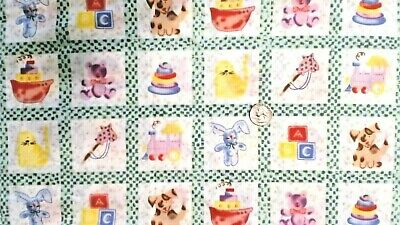 """Cute Nursery Baby Squares 100% Cotton Fabric Remnant 26"""" X 44""""  Mint"""