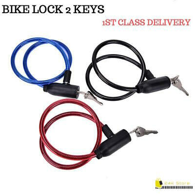 6mm THICK BIKE BICYCLE CYCLE SPIRAL STEEL CABLE LOCK STRONG SECURITY CHAIN 2KEY