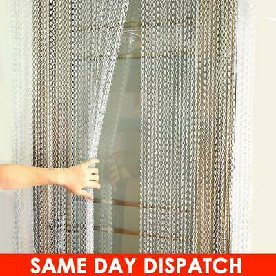 UK Metal Chain Insect Fly Door Curtain Screen Aluminium Pest Control 210x 90CM