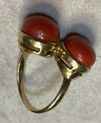 Double Coral Gold Ring