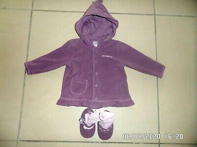 Next Baby Girls Purple Fleece Jacket & Sock Shoes  6-9 Months Excellent Cond