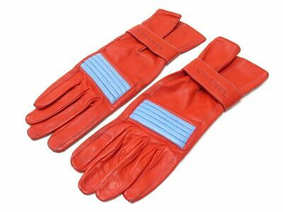 Gants Chanel Taille 51 En Cuir Rouge Bouton Logo Cc Red Leather Gloves 920€