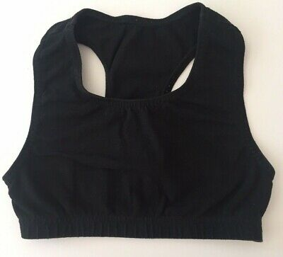 "20"" Chest Girls Crop Top Gym Black Cotton Running Gymnastics Dance Sport (a)"