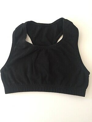 "20"" Chest Girls Crop Top Gym Black Cotton Running Gymnastics Dance Sport (b)"