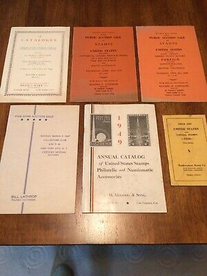 6 Philatelic Stamp Auction Catalogs & Price Lists 1942-1950 Barr, Lathrop + more