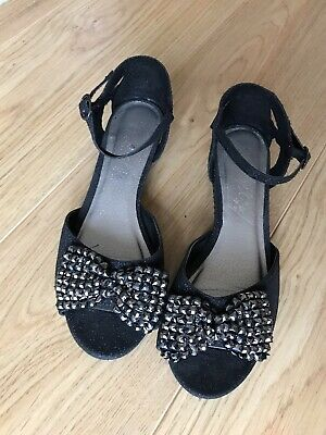 NEXT Girls Black Sparkly Sandals With Bow Detail Size 4
