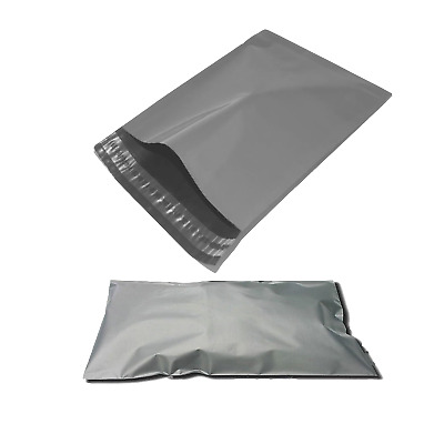 "100 x Grey Mailing Postal Postage Self Seal Strong Heavy Duty Bags - 10"" x 14"""