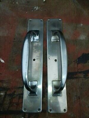 Vintage Old Period Large Pair Of Deco Style Crome Heavy Door Pull Handles.