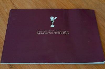 Celebrating 100th year anniversary of Rolls Royce Motor Cars Anglais Catalogue