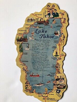 Large Map of Activities and Lake Tahoe Postcard