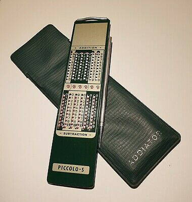 PICCOLO-S vintage Mechanical Addiator. Pocket Manual Calculator.With his bag.70s