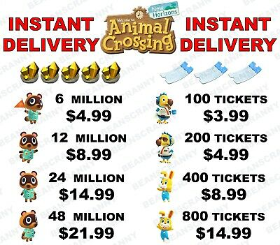 Animal Crossing New Horizons BELLS AND NOOK MILES TICKETS!!! INSTANT DELIVERY!!!