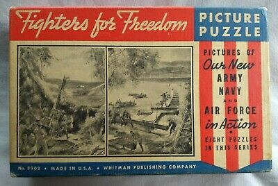 Vintage WW2 Fighters For Freedom Double Color Puzzle 250 Pieces No 3902 10x16