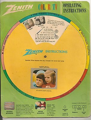 Zenith Color TV Operating Instructions SPIN Wheel 1950's