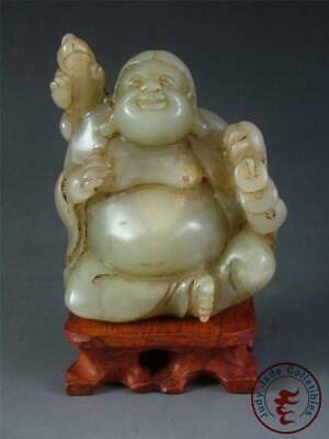 Fine Old Chinese Celadon Nephrite Jade Carved Statue BUDDHA w/ Stand ~ Blessing