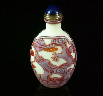 Fine Old Chinese Peking Glass Made Snuff Bottle powerful dragon carved on sides