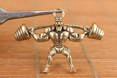 chinese bronze hand casting weightlif statue collect pendant necklace netsuke
