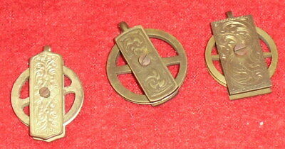 Group Of 3 Engraved Vienna Regulator Weight Clock Pulleys-1885