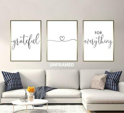Grateful for Everything, Set of 3 Prints, Minimalist Art, Home Wall Decor