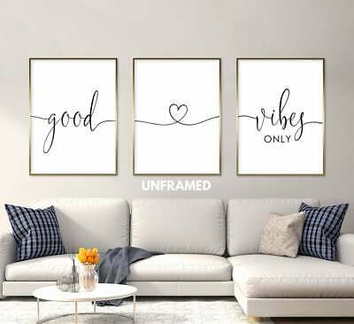 Good Vibes Only, Set of 3 Prints, Minimalist Art, Home Wall Decor