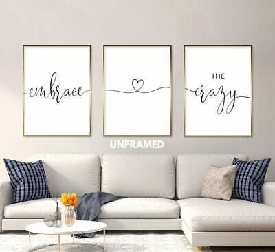 Embrace the Crazy, Set of 3 Prints, Minimalist Art, Home Wall Decor