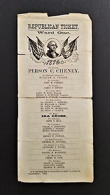 1897 antique POLITICAL REPUBLICAN campaign NH TICKET cheney peirce parker briggs