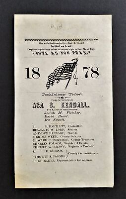 1878 antique POLITICAL REPUBLICAN campaign Nh PROHIBITORY TICKET Asa KENDALL