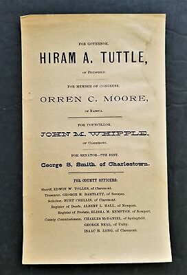 1890 antique POLITICAL REPUBLICAN campaign New Hampshire TICKET TUTTLE governor