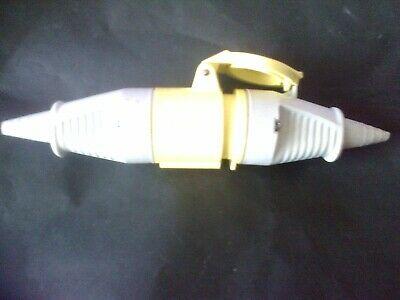 110V 16A 3 PIN YELLOW SITE PLUG and SOCKET IP44 16 amp  extension lead joiner