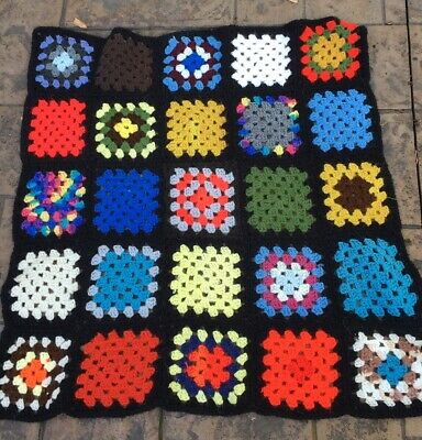 "Vintage Granny Square Crochet Sofa Or Chair Throw Black 30"" X 30"""