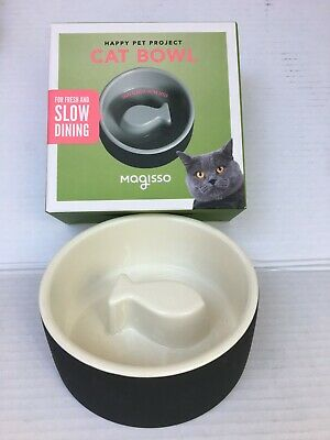 New Magisso Black Fish Slow Feed Ceramics Cooling Food & Water Cat Bowl