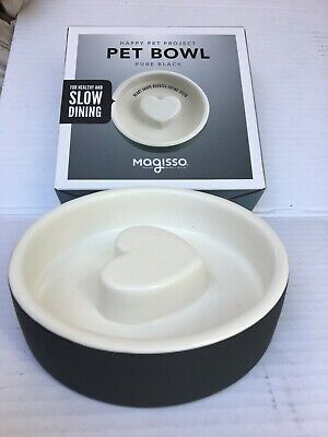 New Magisso Black Heart Slow Feed Ceramics Cooling Food & Water Cat Bowl