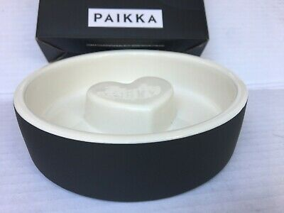 New Piakka Black Heart Slow Feed Ceramics Cooling Food & Water Cat Bowl