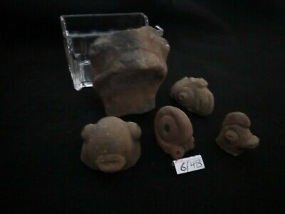 6/4B Pre-Columbian Southern Arawak Lot of 5 Terracotta Atifacts 300bc-900ad