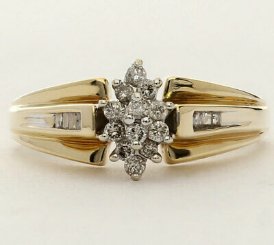 Diamond marquise cluster ring Y/ gold round brilliant baguette .25CT engagement