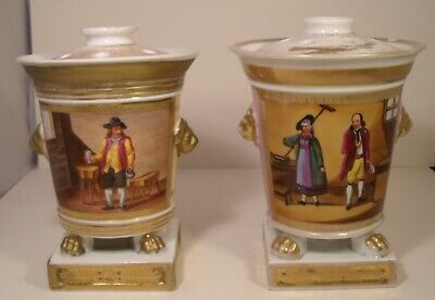Pair Of Early 19th Century Paris Porcelain Hand Painted Lidded Posy Vases A/F