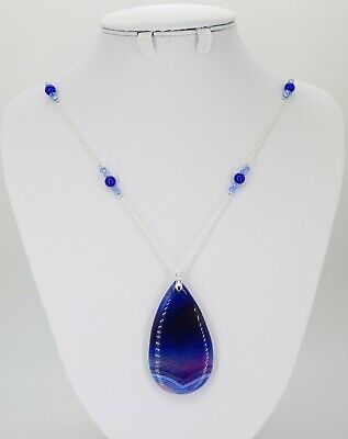 """Blue natural agate teardrop pendant necklace, crystals jade on silver chain 26"""""""