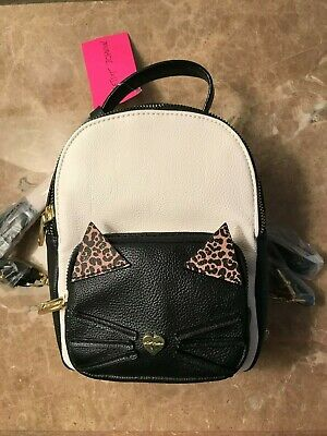 T126 BETSEY JOHNSON Kitty Cat backpack/purse Black White NEW So Cute