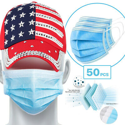[50 Pc/Box] Face Mask Disposable Non Medical Surgical 3-Ply Earloop Mouth Cover