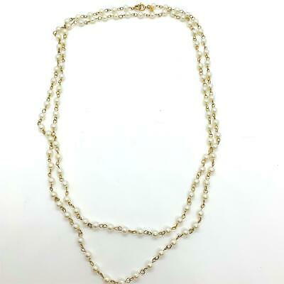 """Vintage Lisa Jewels Necklace Simulated Pearl Gold Tone Connector Extra Long 54"""""""
