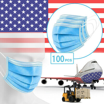 100 Pack - 3-Ply Disposable Procedural Face Mask Earloop Protective Mouth Cover