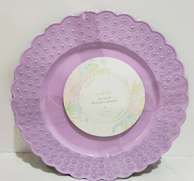 "New ~ Shabby Chic Lovely Spring Floral Lilac Melamine 11/"" Dinner Plates 4 PC Set"