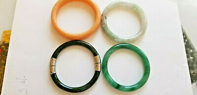 Lot of four jade, jadeite green , huanglong  chineese bangles, bracelets