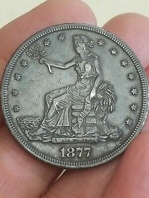 Beautiful 1877 U.S. Silver TRADE DOLLAR Coin San Francisco Mint