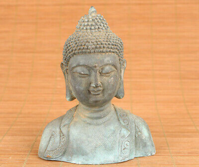chinese Old bronze hand carved Buddha statue figure blessing home deco